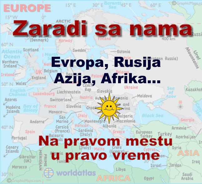 distribucija karta Evropa, Azija, Afrika, Rusija...
